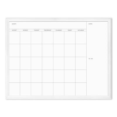 "U Brands 40""x30"" Magnetic Dry Erase Calendar Board White Decor Frame"