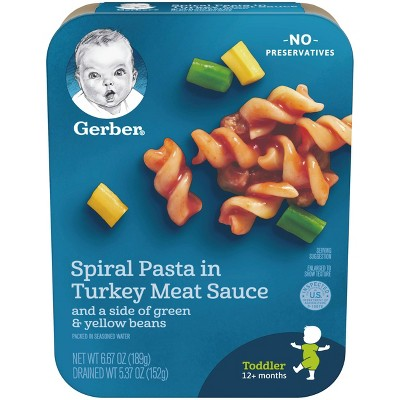 Gerber Lil' Entrees Spiral Pasta in Turkey Meat Sauce with Green and Yellow Beans - 6.67oz