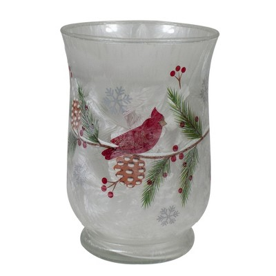 """Northlight 6"""" Hand Painted Christmas Cardinal and Pine Flameless Glass Candle Holder"""