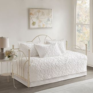 White Amber Cotton Chenille Daybed Cover Set