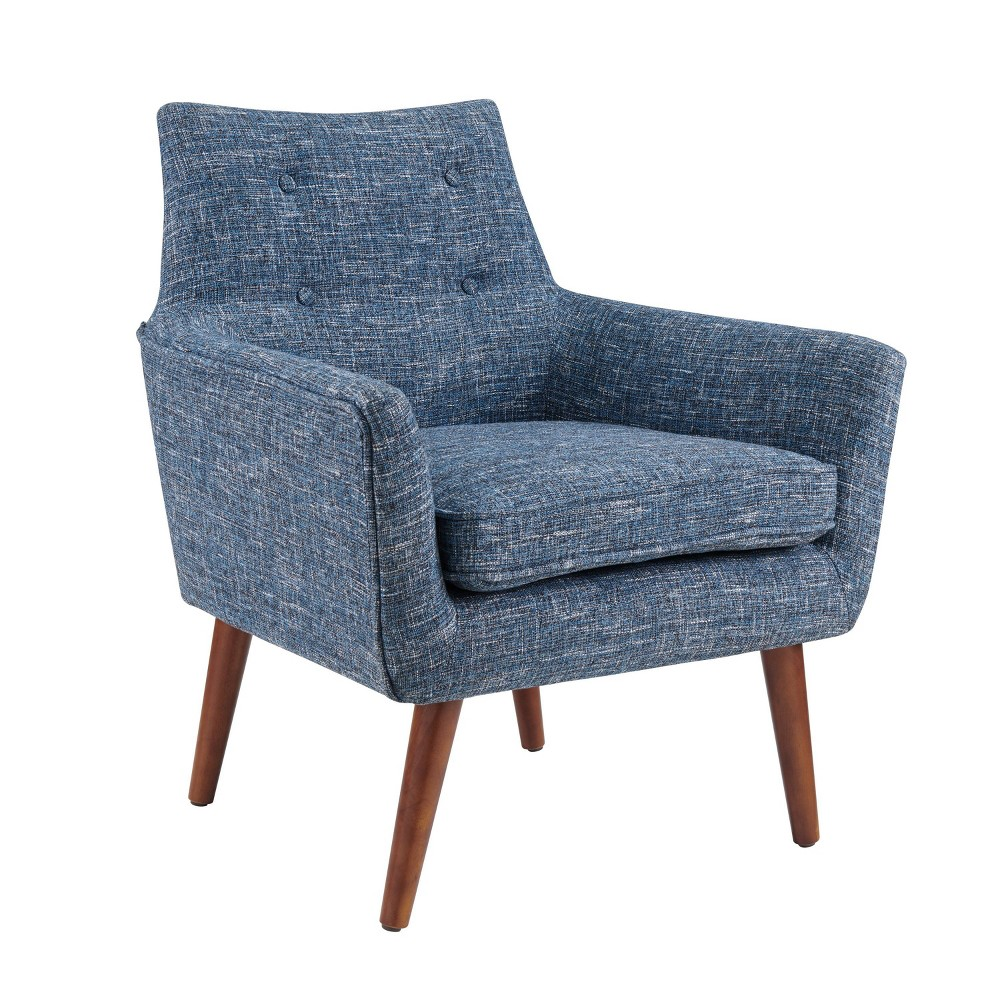 "The Ava chair is the perfect mix of modern and retro. Its blue color will add a pop of style to any home décor. The chair is backed with button tufting and supported with rich dark walnut wood legs. The chairs fun detailing, color, and shape all exude a modern look that will compliment any home. Overall Width: 26-1/2"" Overall Depth: 27"" Overall Height: 32-3/4"" Seat Back Height: 14-1/4"" Seat Width: 20-1/2"" Seat Depth: 19-1/2"" Arm Height: 4-1/2"" Cushion Thickness: 4-1/8"" Floor to Seat Height: 18-1/4"" Gender: unisex. Pattern: Solid."