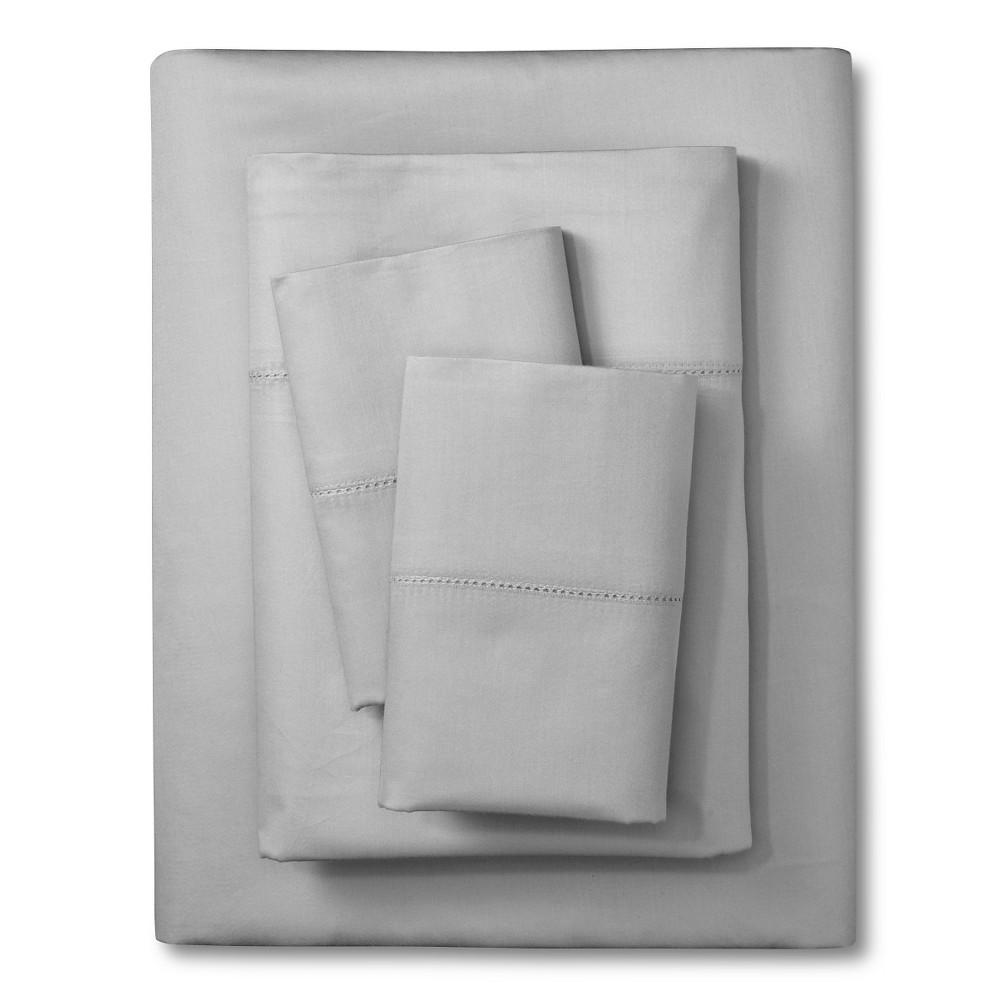 Elite Home Hemstitch 400TC Solid Sheet Set - Gray (Queen)