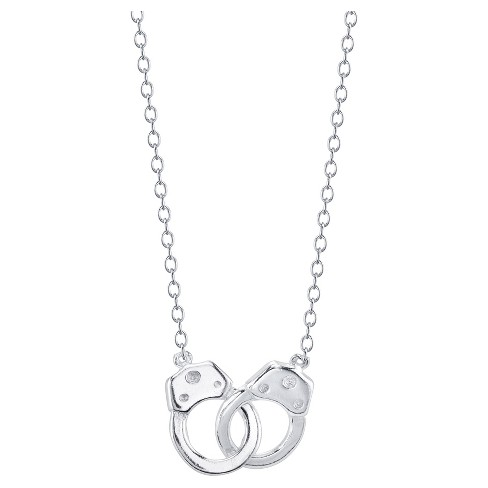 "Women's Sterling Silver Handcuffs Station Necklace -Silver (18"") - image 1 of 2"