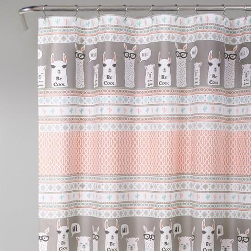 72x72 Llama Stripe Shower Curtain Pink Lush Decor Target
