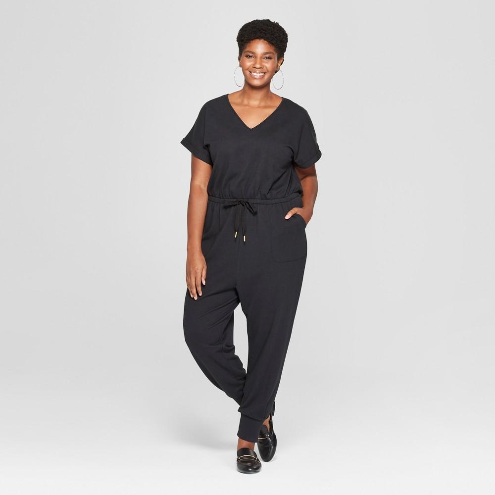 Women's Plus Size Knit Tie Waist Jumpsuit - Ava & Viv Black 4X
