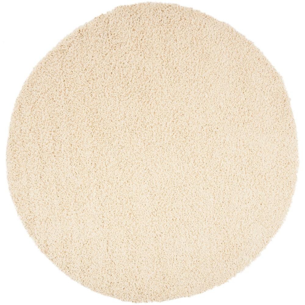 6'7 Solid Loomed Round Area Rug Ivory/Light Gray - Safavieh