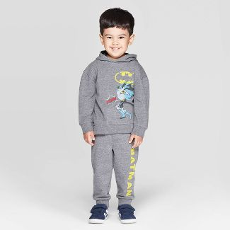 Toddler Boys' Batman 2pc Hooded Set - Dark Gray 3T