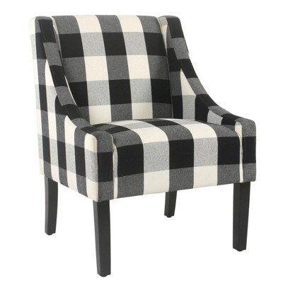 Fabric Upholste Wooden Accent Chair with Buffalo Plaid Pattern Black/White - Benzara