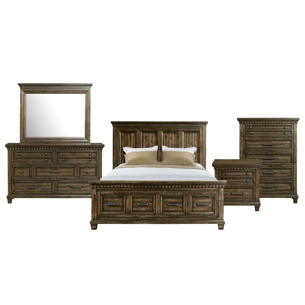 Image of 6pc Johnny Queen Storage Bedroom Set Smokey Walnut - Picket House Furnishings