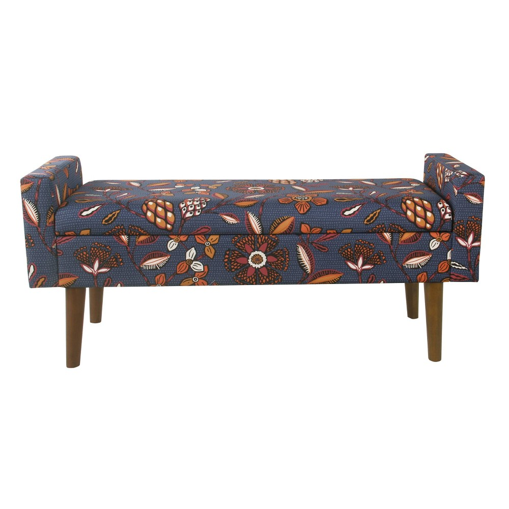 Fulton Storage Bench Blue/Pink Floral - HomePop was $239.99 now $179.99 (25.0% off)