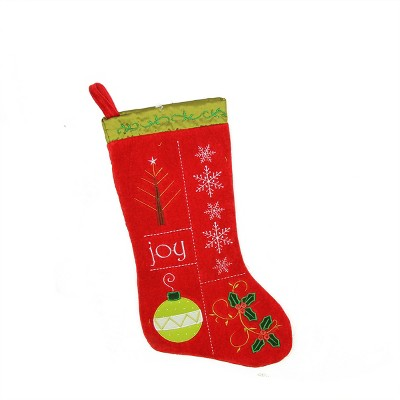 """Northlight 19"""" Red and Green Embroidered Cuffless Christmas Stocking"""