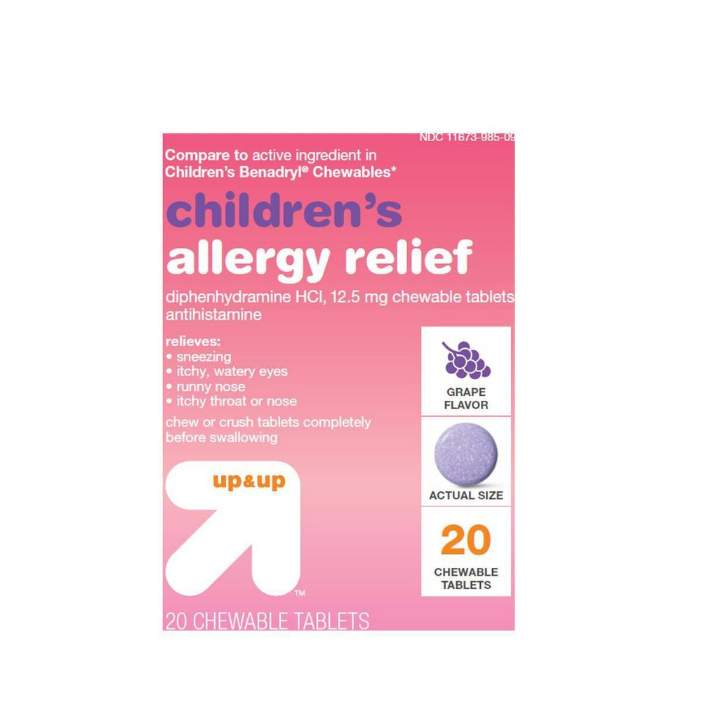 Children's Diphenhydramine Allergy Relief Dissolving Tablets - Grape - 20ct - Up&Up
