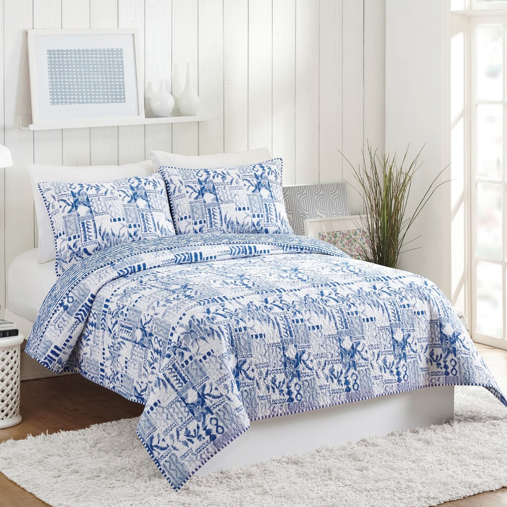 Image of 3pc Full/Queen Swatch Blue Quilt Set - Molly Hatch for Makers Collective