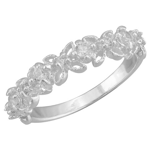 Women's Silver Plated Small Cubic Zirconia Filigree Ring (8) - image 1 of 1