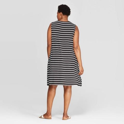 5a8e884cb Women's Plus Size Striped Sleeveless Scoop Neck Knit Dress - Ava & Viv™  Black/White