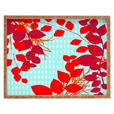 Caroline Okun Petiole Rectangle Tray - Red - Deny Designs