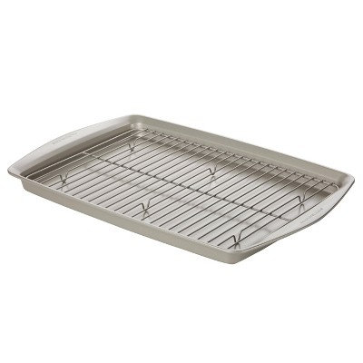 Rachael Ray 13 x19  Nonstick Bakeware Jumbo Cookie Pan with Roasting Rack Silver