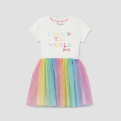 Girls' Barbie 'Change The World' A-Line Dress - Off-White