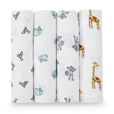 Aden + Anais Swaddle Wraps - Jungle Jam White 4pk