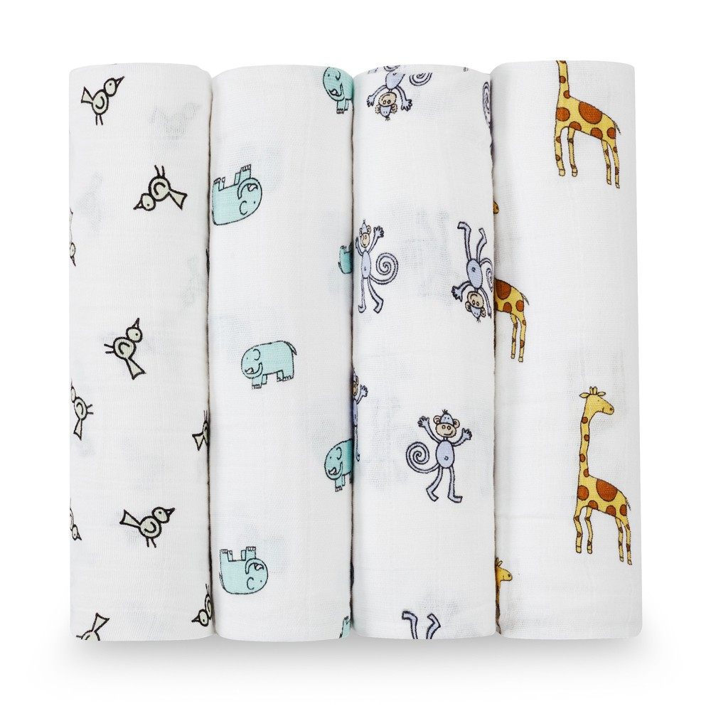 Image of Aden + Anais Swaddle Wraps - Jungle Jam White 4pk, Safari