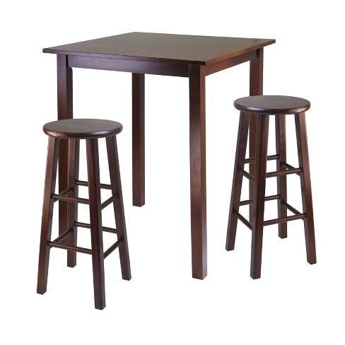 3 Piece Parkland Set High Table with Bar Stools Wood/Walnut - Winsome - image 1 of 3