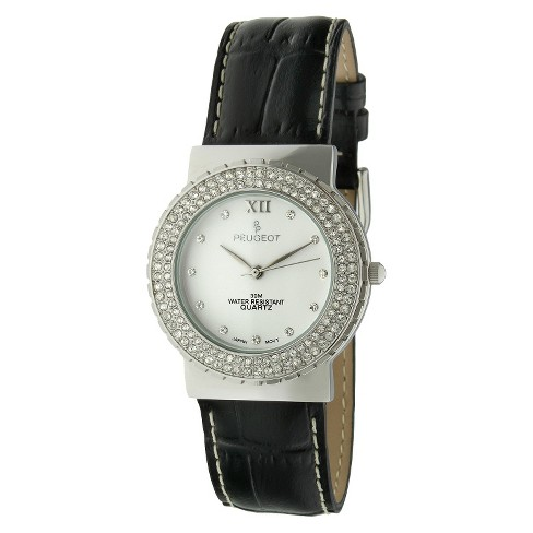 Peugeot Women's Crystal Accented Leather Watch - Black & Silver - image 1 of 1