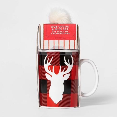 Holiday Plaid Reindeer Mug with Cocoa and Mini Marshmallows - 1.7oz - Wondershop™ - image 1 of 1