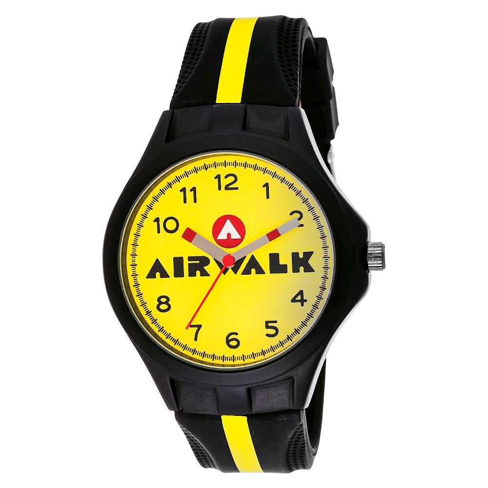 Image of Airwalk Analog Watch - Black, Men's, Yellow