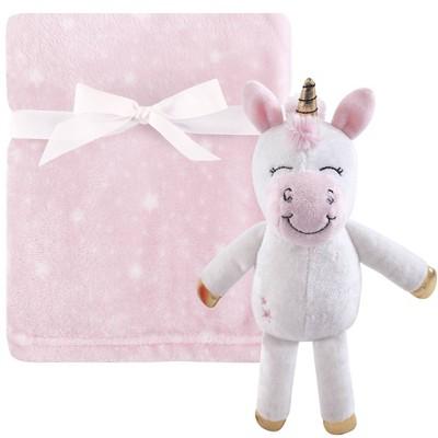 Hudson Baby Unisex Baby Plush Blanket with Unicorn Toy - Pink One Size