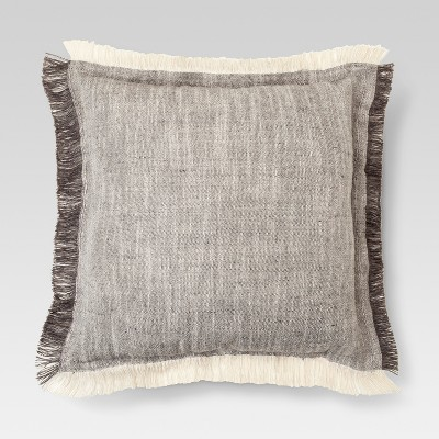 Gray Fringe Throw Pillow (18 x18 )- Threshold™