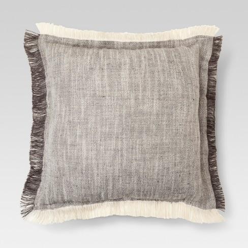 Gray Fringe Throw Pillow 18x18 Threshold Target