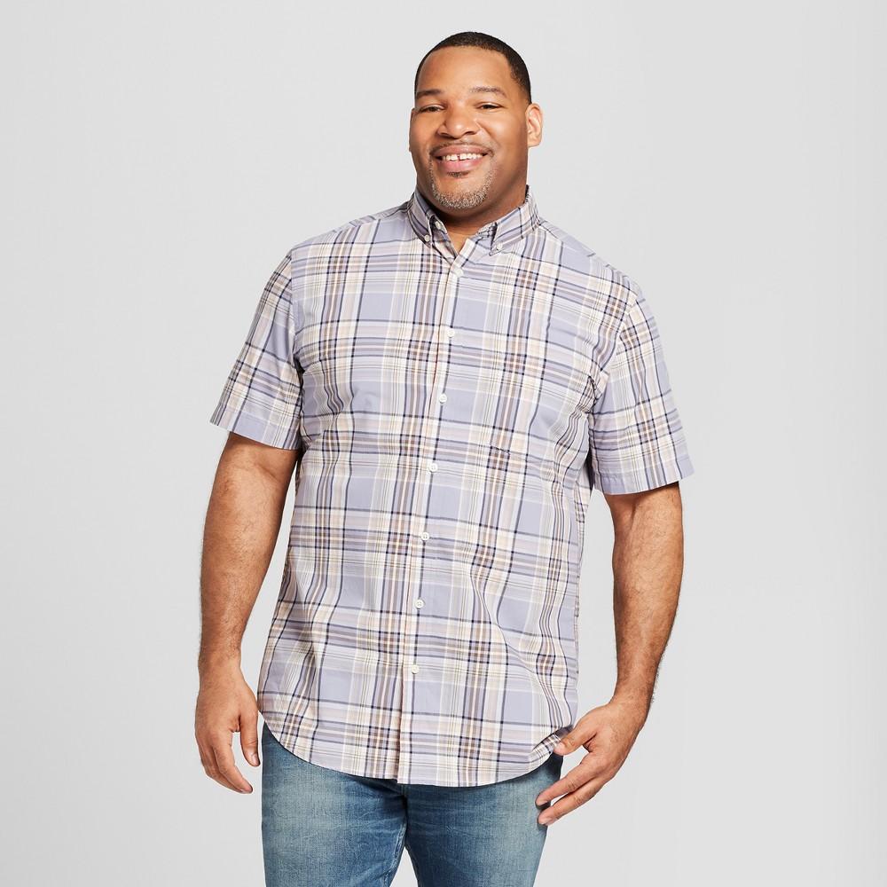 Men's Big & Tall Plaid Short Sleeve Button-Down Shirt - Goodfellow & Co Misty Blue 4XB