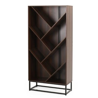 "65"" Bucy Modern Industrial 6 Shelf V Bookcase Dark Walnut/Black - Christopher Knight Home"