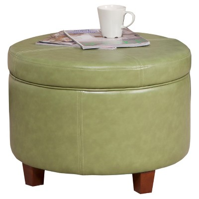 Homepop Large Faux Leather Round Storage Ottoman - HomePop