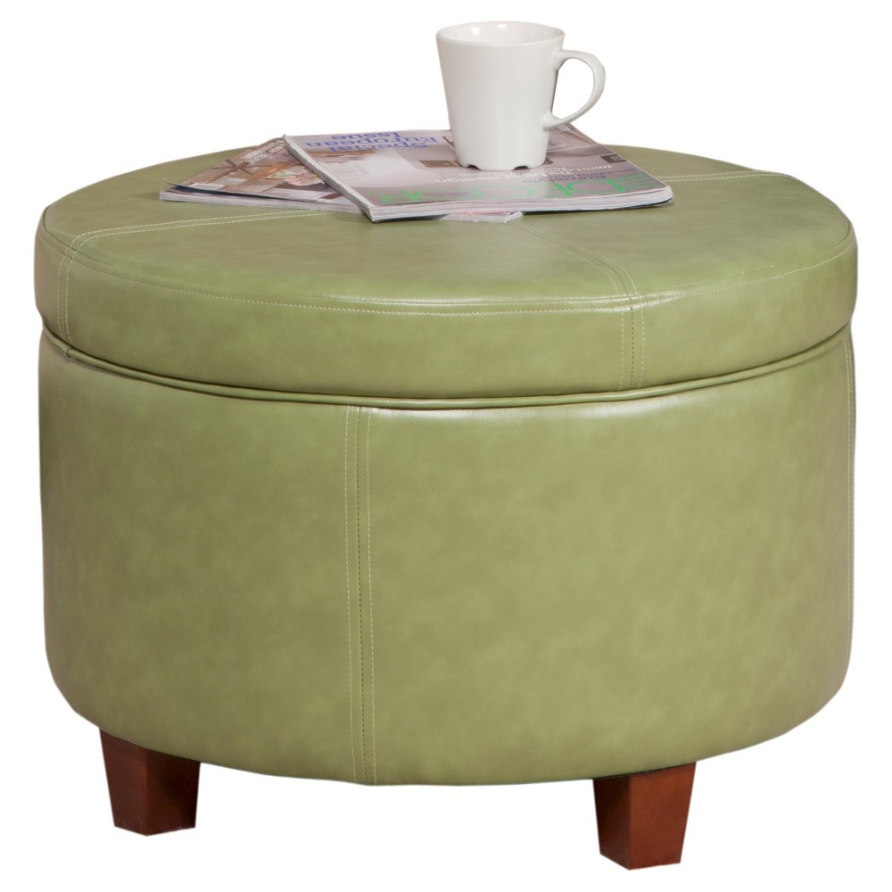Homepop Large Faux Leather Round Storage Ottoman - Moss Green was $104.99 now $78.74 (25.0% off)