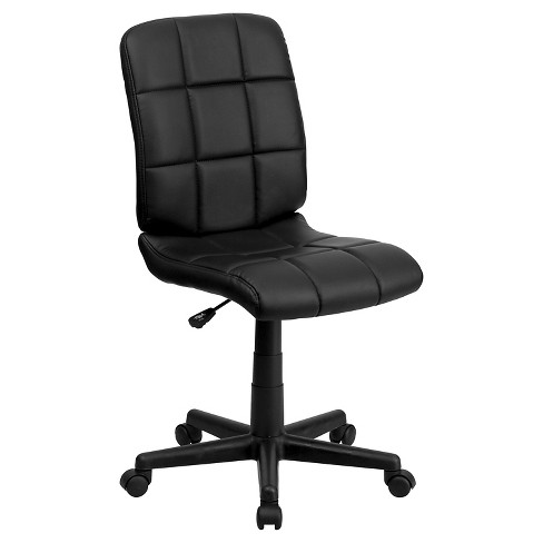 Mid-Back Swivel Task Chair Black Quilted Vinyl - Flash Furniture - image 1 of 4