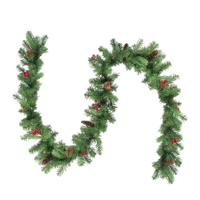 "Northlight 9' x 10"" Noble Fir with Berries Artificial Christmas Garland - Unlit"