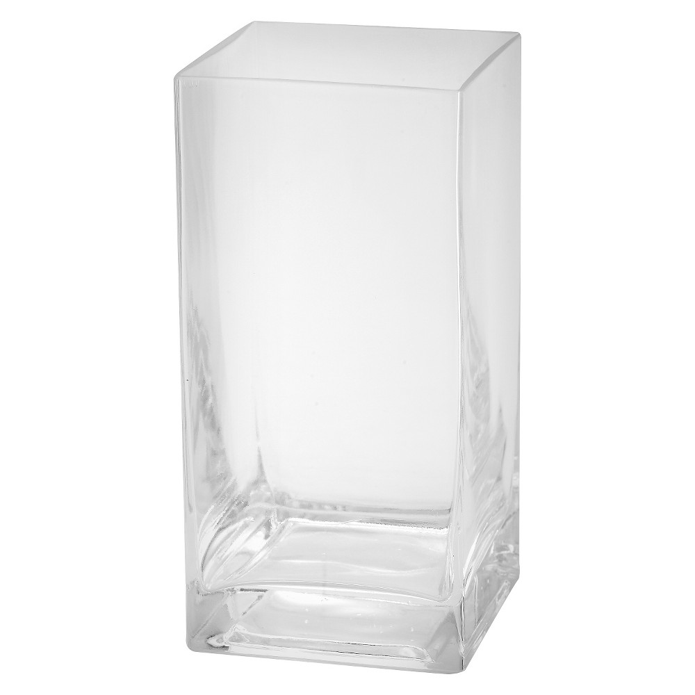 "Image of ""8""""x4"""" Glass Rectangle Vase - Diamond Star, Clear"""