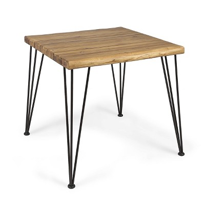 "32"" Maverick Square Industrial Dining Table Teak - Christopher Knight Home"