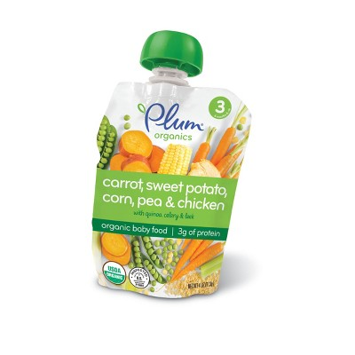 Plum Organics Carrot Sweet Potato Corn Pea & Chicken with Quinoa Celery & Leek Baby Food Pouch - (Select Count)