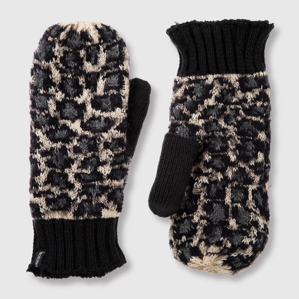 Image of Isotoner Women's Leopard Mitten - Gray One Size, Beige Brown Black