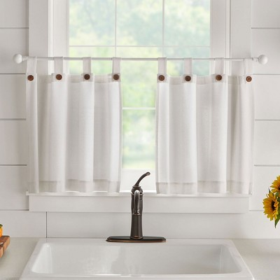 Tucker Solid Button Tab Top Window Kitchen Tier Set of 2 - Elrene Home Fashions