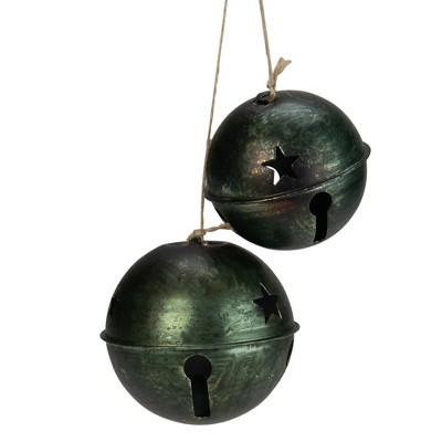 """Melrose 2ct Green and Brown Jingle Bell Drop Christmas Ornaments 13.25"""""""