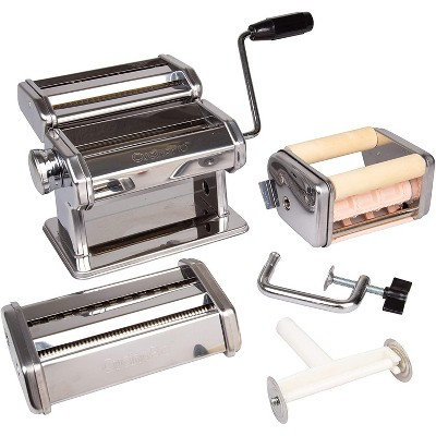 Pasta Maker Deluxe Set 5 Piece Steel Machine with Spaghetti Fettuccini Roller, Angel Hair, Ravioli Noodle, Lasagnette Cutter Attachments, Includes Hand Crank, Counter Top Clamp & Cleaning Brush