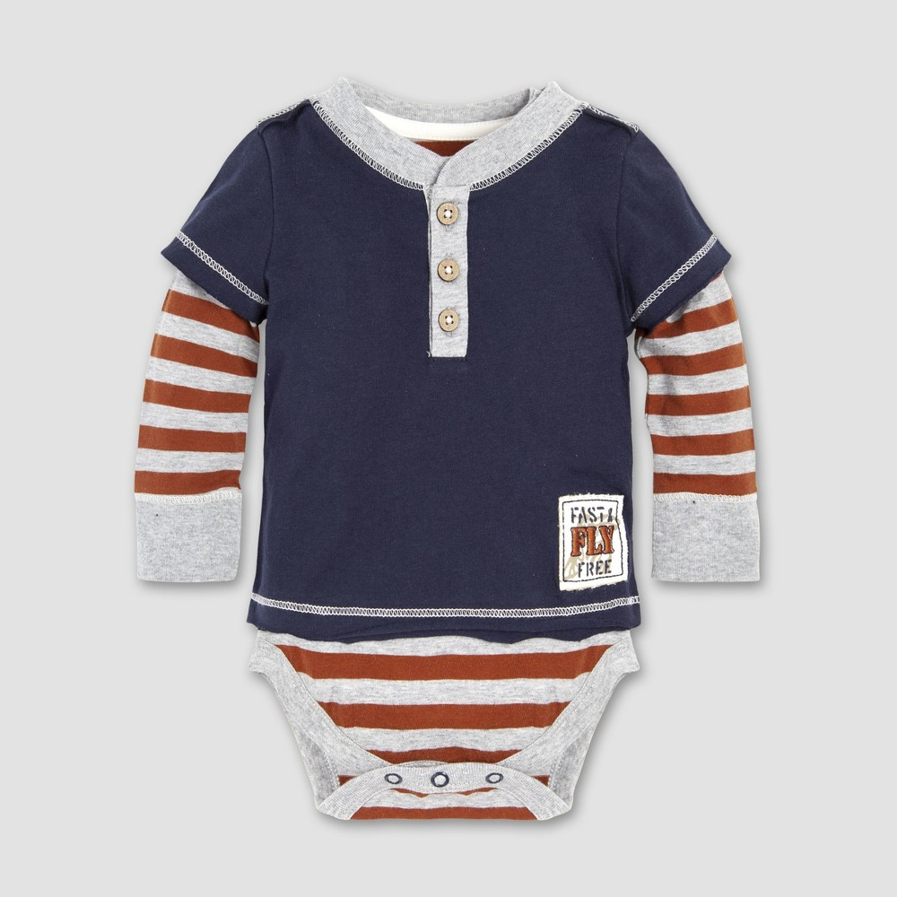 Burt's Bees Baby Baby Boys' Fast and Free 2fer Bodysuit - Midnight 18M, Blue