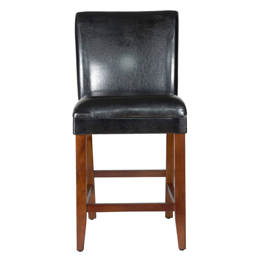 "Image of ""24"""" Faux Leather Luxury Counter Stool Black - HomePop"""