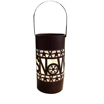 "Sterling 15"" Shimmering LED Lighted Snow Battery Operated Christmas Lantern - Brown"