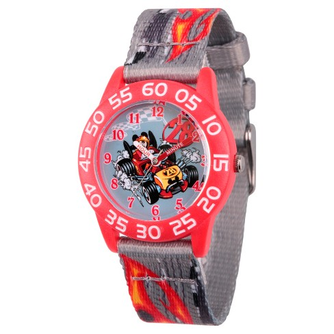 Boys' Disney Mickey Mouse Red Plastic Time Teacher Watch - Gray - image 1 of 1