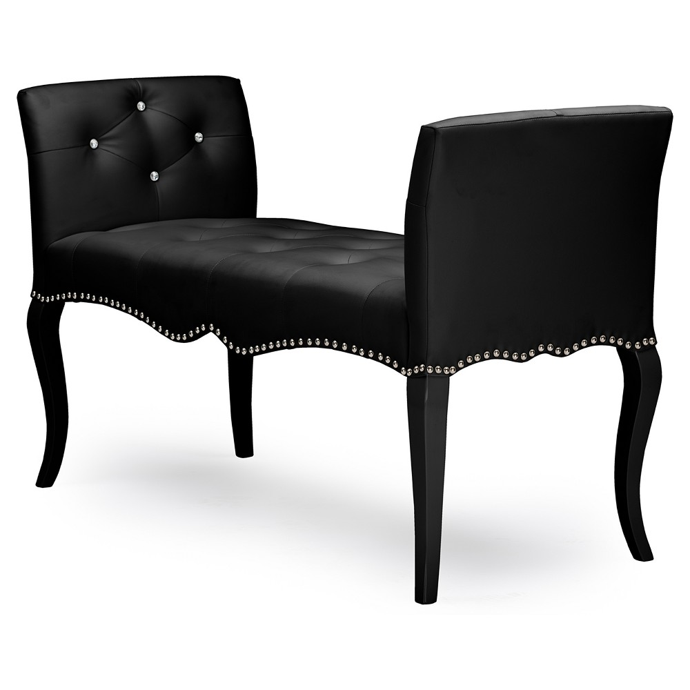 Kristy Modern and Contemporary Faux Leather Classic Seating Bench - Black - Baxton Studio
