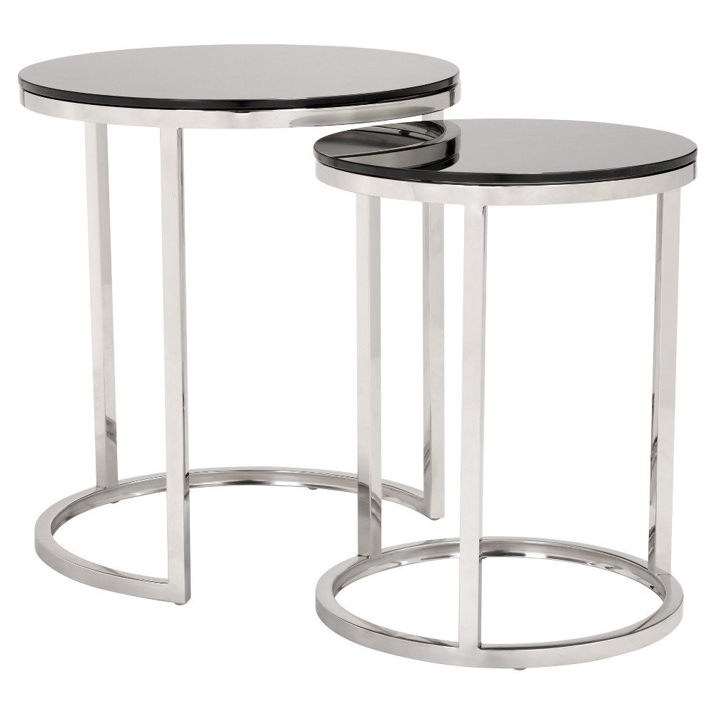 Petite Modern Black Tempered Glass and Polished Stainless Steel Nested Tables - ZM Home, Black And Stainless Steel